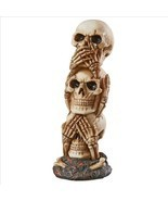 Medium: Three Truths of Man See Hear Speak No Evil Triplet Skull Hallowe... - $44.50