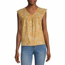 a.n.a. Women's V Neck Sleeveless Blouse Shirt MEDIUM Yellow Floral New - $19.79