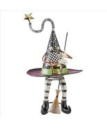 Enchanted Wily Walking Witch's Hat Holding Broom Whimsical Halloween Decor - $76.15 CAD