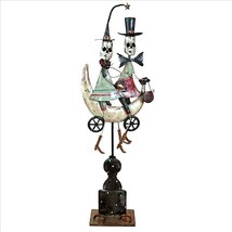 Whimsical Skeleton Couple on a Moonlit Ride Distressed Metal Halloween D... - ₨5,138.23 INR