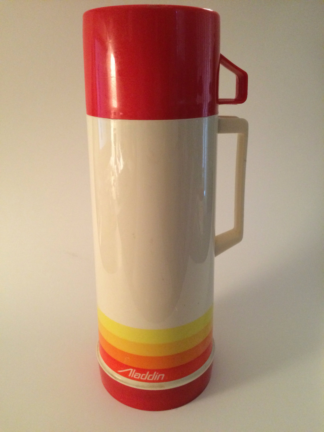 Vintage Aladdin Thermos Coffee Beverage Thermos Retro Red Yellow Orange 1970`s