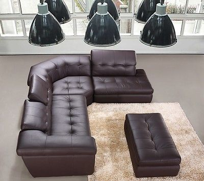 J&M 397 Full Top Grain Italian Leather Sectional Sofa Chic Modern Brown Right