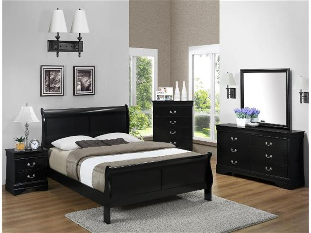 Crown Mark RB3999 Louis Philip King Size Bedroom Set 5pc. Black Contemporary