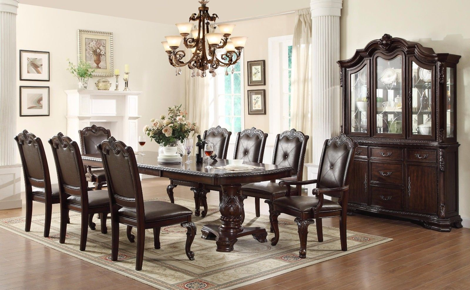 Crown Mark 2150 Dining Room Set 9pc Kiera Brown Finish Traditional