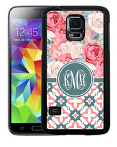 MONOGRAMMED RUBBER CASE FOR SAMSUNG S4 S5 S6 S7 EDGE PLUS BLUE PINK ROSE... - $12.98