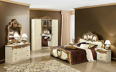 Classic Style Barocco Ivory & Gold Veneer Bedroom Set Queen Size Contemporary