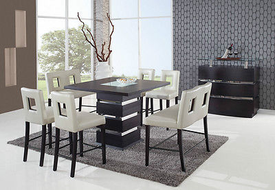 Global Furniture Modern DG072BT + Chairs/Benches Wenge & Beige Dining Set