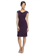 Alex Evening New Purple Cap-Sleeves Embellished Shoulder Cocktail Dress ... - $29.99