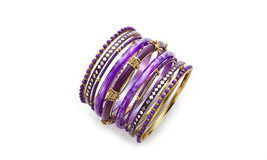 Bangle Set Purple Silver & Gold Tone Beaded East Indian Jewelry  - $14.80