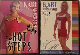 2 Kari Anderson step aerobics workout DVD lot hot steps all cardio go be... - $42.74