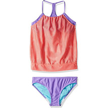 Speedo Girl's Swimsuit Two Piece Tankini Mesh Blouse Thin Strap,Tropical... - $43.56