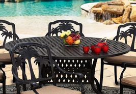 Palm Tree Stylish Outdoor Dining Set Cast Aluminum 7pc Garden Patio Furniture image 2