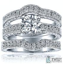 Round Diamond Wedding Matching Band Set 1.90 Carat (1.00) F/VS2 14k White Gold  - $5,117.31