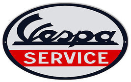 Vespa Service Motorcycle Reproduction Metal  Sign 9×14 Oval - $24.75