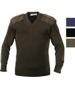 V Neck Acrylic Uniform Sweater Military Commando Army Epaulets Thick War... - $37.99+