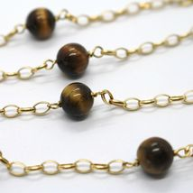 18K YELLOW GOLD NECKLACE OVAL ROLO CHAIN ALTERNATE WITH TIGER'S EYE BALLS 8 MM image 3