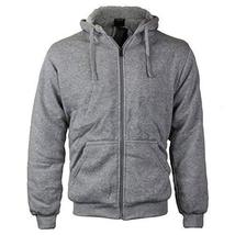vkwear Men's Athletic Soft Sherpa Lined Fleece Zip up Hoodie Sweater Jacket (Sma