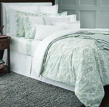 Sferra Jessia Full Queen Duvet Cover Mint Green Cotton Percale Floral Print New - $325.00