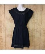 J Crew Embroidered Scallop Dress Black Sz 00 Linen Blend Extra Small $13... - $29.69