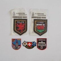 Souvenir Patch Lot Wales Switzerland Berlin 5 Vintage European Patches - $34.64