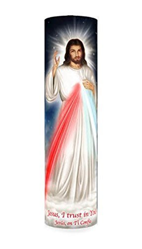 Jesus  i trust in you  divine mercy  led flameless devotion prayer candle
