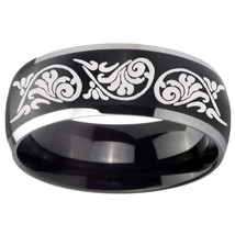 8mm Etched Tribal Pattern Dome Brushed Black 2 Tone Tungsten Wedding Band Mens - $39.99