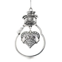 Inspired Silver #1 Mom Pave Heart Snowman Holiday Ornament - $14.69