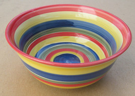 Hand Painted Swirl Design Mult-colored Serving Bowl Stonemite by SWIRL - $13.00
