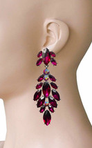 "3.5"" Long Clip On Earrings Dark Fuchsia Acrylic Rhinestones, Drag Queen, Pageant - $18.76"