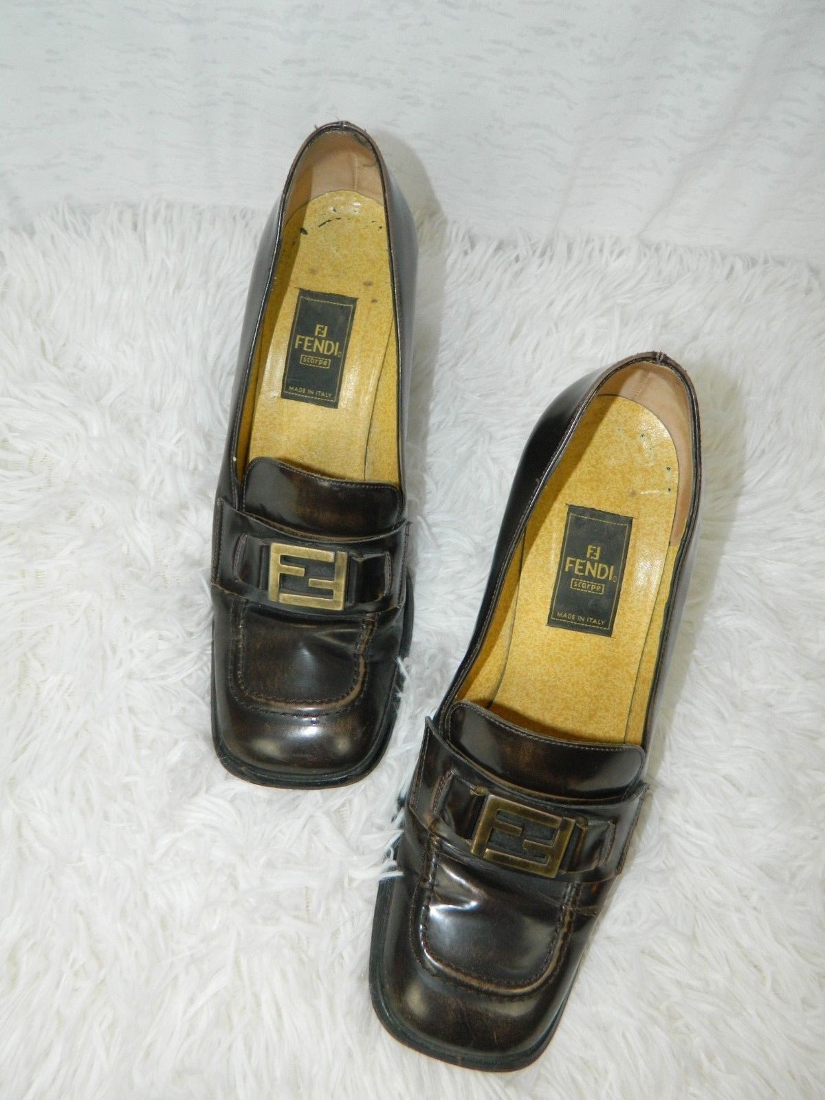 "Primary image for Fendi Shoes Brown Loafers Distressed Chunky Heels 3"" Menswear Women's Shoes Sz 7"