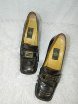 "Fendi Shoes Brown Loafers Distressed Chunky Heels 3"" Menswear Women's Sh... - $83.90"