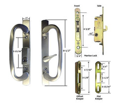 Patio Door Handle Kit Mortise Lock w/ Faceplate Keepers, B-Position,Chro... - $75.19