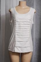 Alfani White Sleeveless Top,T-Shirt Woven Ruffle Trim,Scoop Neck,Stretch... - $1.99