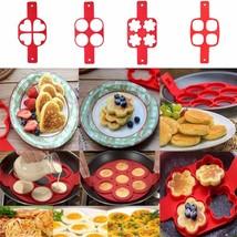 Nonstick Pancake Maker Egg Ring Maker 4 Holes Silicone Pancake Mold Fryi... - $7.53 CAD