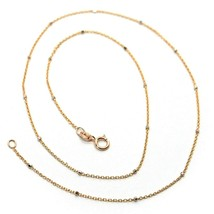 """18K ROSE & WHITE GOLD CHAIN MINI THIN ROLO 1mm ALTERNATE FACETED CUBES 18"""" image 1"""