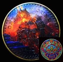 Fire Temple Aztec Calendar Round Silver OZ Ounce Full Color 24k Gold & C... - $66.39