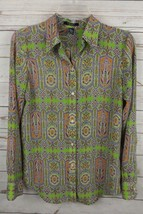 Chaps Blouse Top Small Orange Green Paisley - $14.24