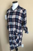 Do + Be Plaid Long Sleeve Shirt Dress Small Asymmetrical Blue new - $24.75