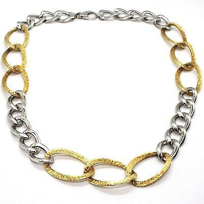 Silver 925 Necklace, Chain Grumetta Oval, White & Yellow Alternating, Curb