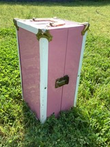 Vintage PINK Metal DOLL CLOTHING Steamer Trunk Chest Closet Wardrobe - $69.99