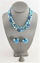 VINTAGE HATTIE CARNEGIE SIGNED TURQUOISE BLUE ART GLASS NECKLACE & EARRI... - $125.00