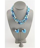 VINTAGE HATTIE CARNEGIE SIGNED TURQUOISE BLUE ART GLASS NECKLACE & EARRI... - $125.00