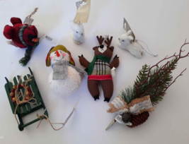 Country Woodland Ornaments Lot 7 White Fur Rabbit Cardinal Snowman Sled ... - $9.41