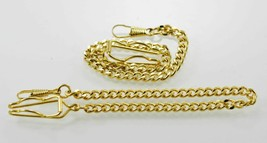 2 Unisex Stainless Steel Gold Pocket Watch Replacement Chains Fobs 10 In... - $8.59