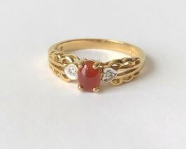 Vintage AVON Red Rust Cabochon Gemstone Gold Tone Filigree Ring Size 10 ... - $13.69