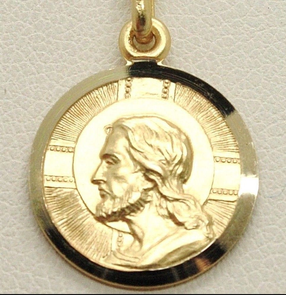SOLID 18K YELLOW GOLD JESUS CHRIST REDEEMER 19 MM MEDAL, PENDANT, MADE IN ITALY