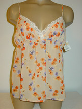 Gilligan O'Malley beige floral semi sheer cami tank top purple orange-M-... - $8.56
