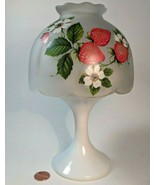 Westmoreland Fairy Lamp Strawberries On Frosted Glass Top, Milk Glass Ba... - $29.65