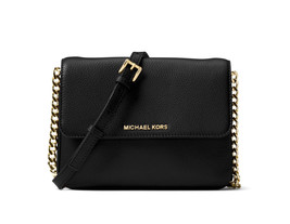 Michael Kors Bedford Double Gusset Leather Crossbody Bag Purse Black New... - $147.51