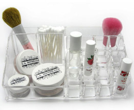 Clear Acrylic 16 Compartment Lipstick Brush Cosmetic Makeup Holder Organ... - $15.29